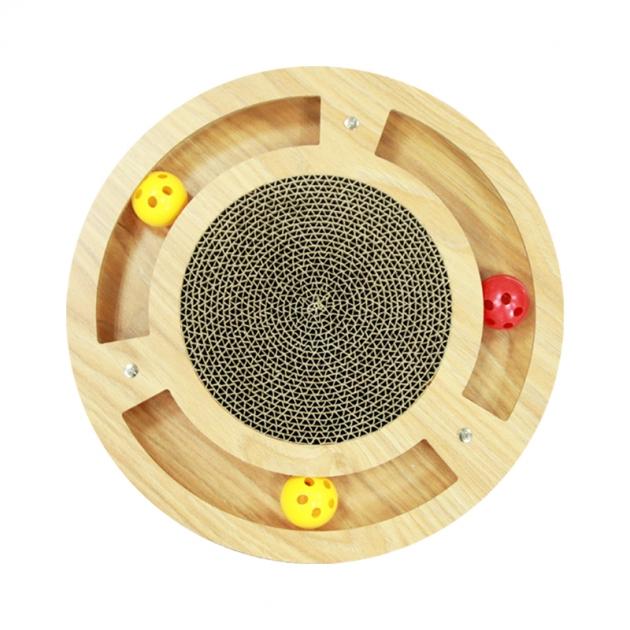 六邊形木板貓抓板(附鈴鐺球) 2