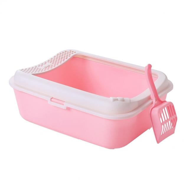 [免運]SmartPaws簡約半罩式貓砂盆(粉紅) 1