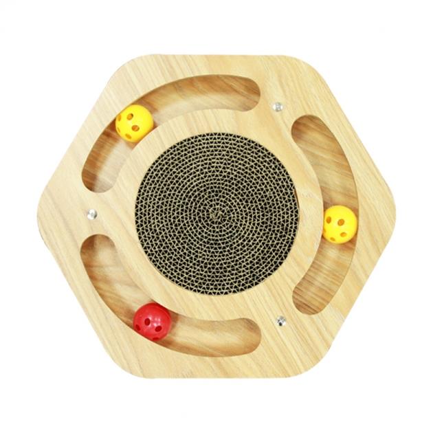 六邊形木板貓抓板(附鈴鐺球) 1