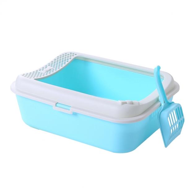 [免運]SmartPaws簡約半罩式貓砂盆(藍) 1