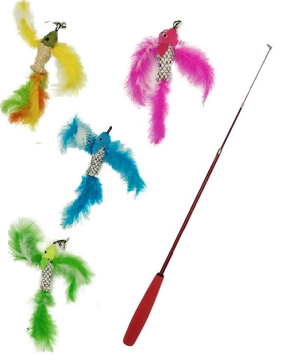 三段伸縮逗貓棒-飛魚款 1