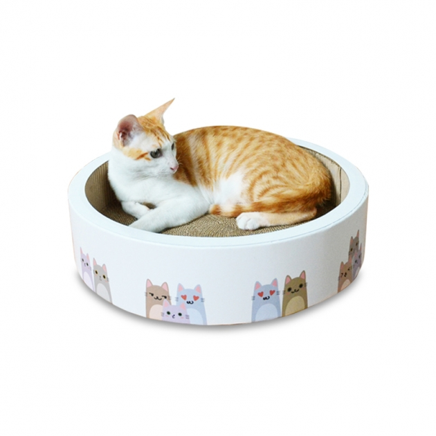 [免運]貓咪圖案貓抓圓窩-白(大40cm) 1